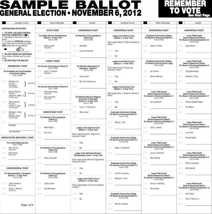Official SAMPLE BALLOT: Lancaster County, NE November 6, 2012
